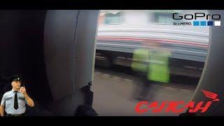 Зацеп «Сапсана» с запалом и экстренной остановкой. / Hight-speed trainsurfing in Russia / 220 km/h.