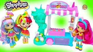SPK Shopkins Hot Dog Stand with Shoppies Rainbow Kate Doll + Americas Season 8 Blind Bags