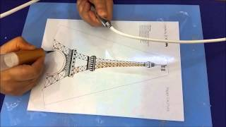 Cake Deco Pen - How To Draw Trace Eiffel Tower Using Sugar Lace ?