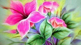 Como Pintar Hibiscos Cor de Rosa – Pintura em Tecido