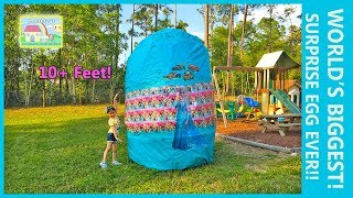 THE WORLDS BIGGEST GIANT SURPRISE EGG OPENING SpiderMan & Elsa Frozen RideOn Cars Surprise Toys