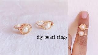 Diy Pearl Rings/making Simple And Beautiful Wire Wrapped Pearl Rings/wire Ring Making For Beginners