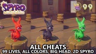 Spyro Reignited - All Cheats (99 Lives, All Colors, Big Head Mode, & 2D Spyro)