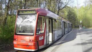 preview picture of video '[Sound] Straßenbahn Adtranz/Siemens GT8N (Wagennr. 1105) der Verkehrs-AG Nürnberg'