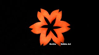 Carrot | Simple Fire Star Flower | Beginners 120 | Mutita Edible Art Of Fruit And Vegetable Carving