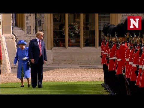 Trump na přehlídce zablokoval britskou královnu Alžbětu a donutil ji, aby ho oběhla