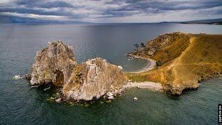 Widok z lotu ptaka na jezioro Bajkał