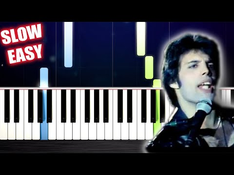 Queen - Don't Stop Me Now - SLOW EASY Piano Tutorial by PlutaX