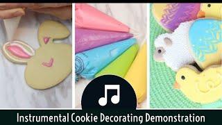 Wet On Wet Royal Icing Easter Beginner Cookies DIY Cookie Decorating - Fast Cookie Decorating Video