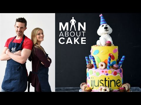 iJustine DREAM Birthday Cake Collab with Man About Cake   Sculpted Dog Cake Topper