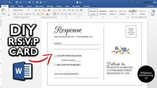 How to make an RSVP Postcard in Microsoft Word | DIY Wedding Invitations, Eternal Stationery