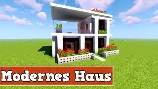 Minecraft Modernes Haus Mit Wintergarten Braunweiß Bauen Tutorial - Minecraft haus bauen tutorial deutsch