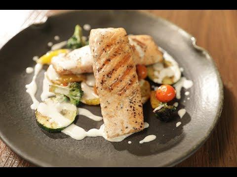 Grilled Salmon With White Butter | Sanjeev Kapoor Khazana