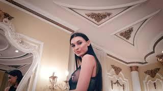 Glamour model wearing catsuit in baroque interior | Модель в красивой сетке в интерьерах барокко