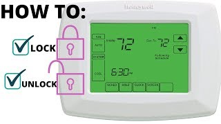 How to lock & unlock screen Honeywell RTH8500D programmable thermostat Rheem Trane