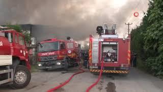 Bayramın ilk saatlerinde geri dönüşüm tesisleri alev alev böyle yandı