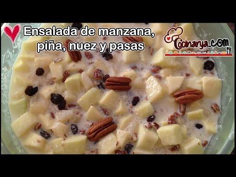 ENSALADA DE MANZANA CON PIÑA, NUEZ Y PASAS