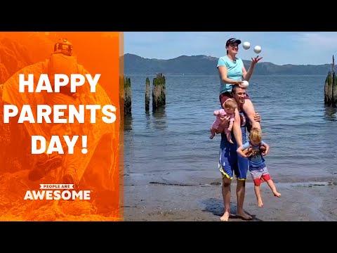 הורים עושים כושר ופעילויות אקסטרים עם הילדים שלהם