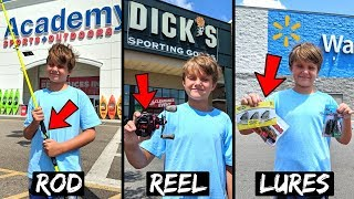 Store Hopping Fishing Challenge - KID Picks Rod, Reel, Lures (Academy, Dick's, Walmart)