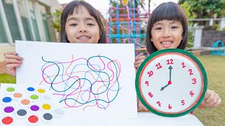 หนูยิ้มหนูแย้มเล่นกิจกรรมเด็ก วางทับให้ตรงลวดลาย เปิดฝาจับคู่สี เขียนนาฬิกา
