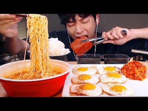 MUKBANG|집밥! 통 스팸,계란후라이,라면,흰밥,김,김치 먹방|KOREAN HOME FOOD EATING SOUNDS[SIO ASMR 시오]