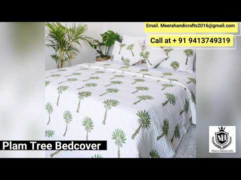 Palm Tree Kantha Quilted Bedcovers