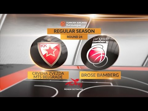 EuroLeague Highlights RS Round 24: Crvena Zvezda mts Belgrade 74-60 Brose Bamberg