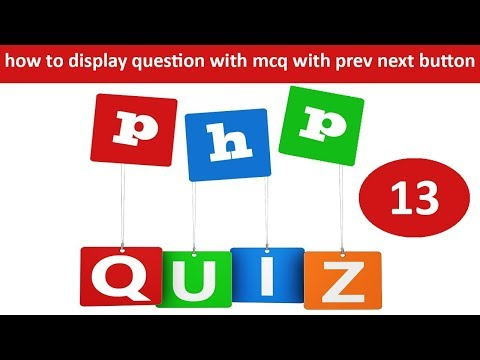how to display questions with multiple options with previous next button in online quiz in php
