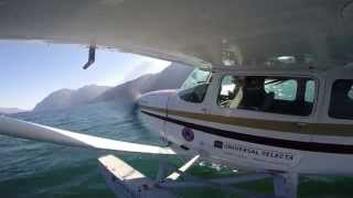 Seaplane flying lake Como