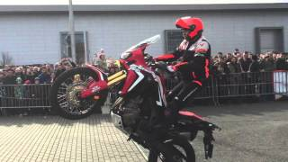 New Honda Africa Twin CRF1000 test drive - stuntride show by Lisak