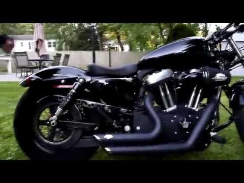 Harley Davidson Sportster 48 with 4.5 gallon gas tank and drag bars