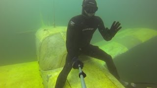 Freediving Kreidesee Germany - the Astronaut's sunken Airplane Piper PA-28