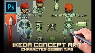 Ikeda Concept Art - Character Design Process. (Commentary)