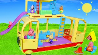 Peppa Pig Unboxing: Transforming Camper Van Toy Vehicles w/ George, Mummy & Daddy Surprise for Kids