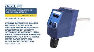 Overhead Digital Stirrer, LED – 5.3G Capacity, 100-220V 50/60Hz