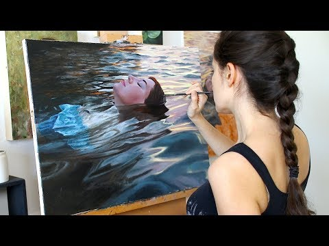 oil painting in time lapse floating in sunset waters by lena danya