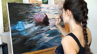 Oil Painting Time Lapse   Floating In Sunset Waters