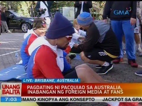 UB: Pagdating ni Pacquiao sa Australia, inabangan ng foreign media at fans