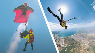 Skydiving Bungee Jump From A Wingsuit.