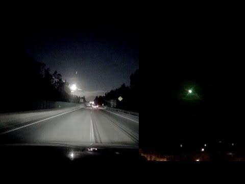 Невероятное зрелище: Взрыв метеора в ночном небе над Китаем (2 видео)