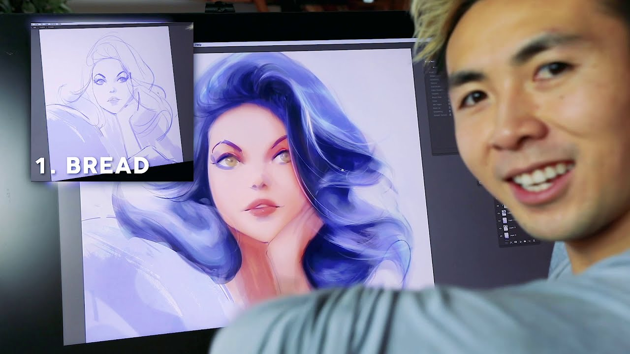 digital painting how to paint hair by ross draws