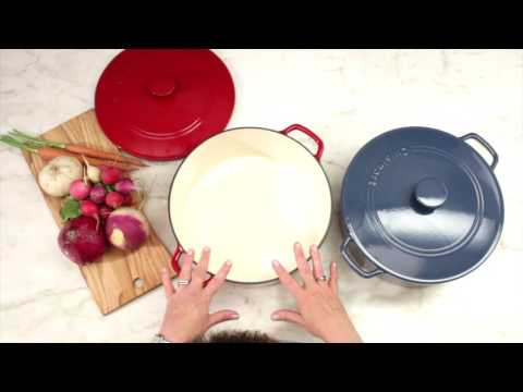 Chef's Classic™ Enameled Cast Iron 7 Quart Round Covered Casserole Demo (CI670-30CR & CI670-30BG)
