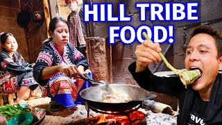 Hill Tribe Food!! WILD BANANA BLOSSOM with Lahu People - Mountain Village!