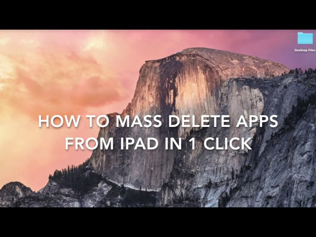 1-click to Mass Delete Icons on iPad