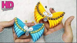 DIY - How to make butterfly with satin ribbon    Kanzashi    bros kupu-kupu