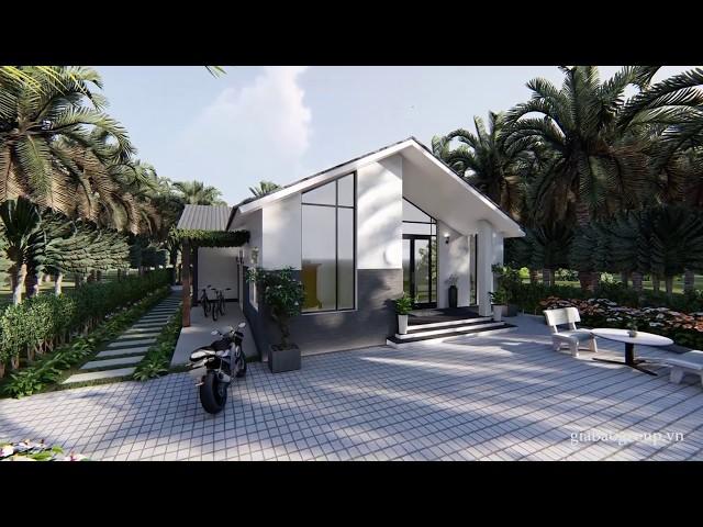 Thiết kế biệt thự vườn hiện đại, mái chữ A tại Quy Nhơn