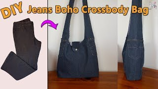 DIY JEANS BOHO CROSSBODY BAG | DIY BAG | BOHO BAG | BAG OUT OF JEANS | BAG SEWING TUTORIAL