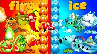 Plants vs Zombies 2 Gameplay Best Fire Plants vs Ice Plants Team vs Team Primal Fight PVZ 2