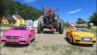 Two Power Wheels Towing Giant Tractor with Mommy! Kids Video