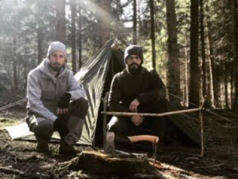 2 Day Bushcraft Overnight ,Wintertent Woodstove cucina Trapper con Livio